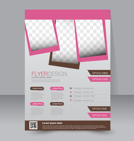 magazine design: Flyer template. Business brochure. Editable A4 poster for design, education, presentation, website, magazine cover. Pink and brown color. Illustration