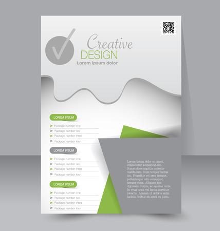 Flyer template. Business brochure. Editable A4 poster for design, education, presentation, website, magazine cover. Green color.
