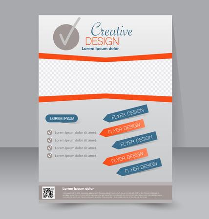 magazine: Flyer template. Business brochure. Editable A4 poster for design, education, presentation, website, magazine cover. Blue and orange color. Illustration
