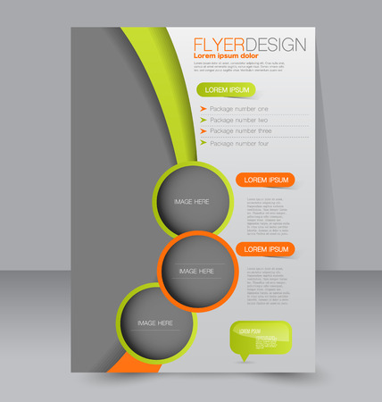 magazine page: Flyer template. Business brochure. Editable A4 poster for design, education, presentation, website, magazine cover. Green and orange color.