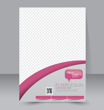 Flyer template. Business brochure. Editable A4 poster for design, education, presentation, website, magazine cover. Pink color.