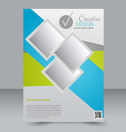 front side: Flyer template. Business brochure. Editable A4 poster for design, education, presentation, website, magazine cover. Blue and green color.