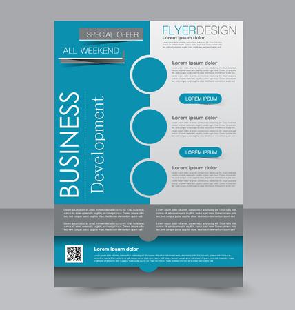 editable: Brochure template. Business flyer. Editable A4 poster for design, education, presentation, website, magazine cover. Blue color.