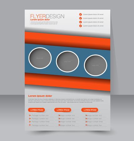 editable: Flyer template. Business brochure. Editable A4 poster for design, education, presentation, website, magazine cover. Blue and orange color. Illustration