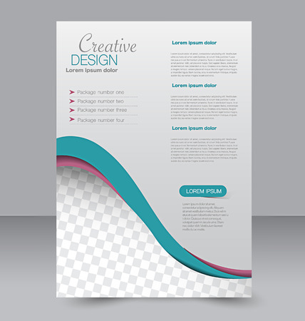 editable: Flyer template. Business brochure. Editable A4 poster for design, education, presentation, website, magazine cover. Pink and green color.