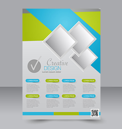 editable: Flyer template. Business brochure. Editable A4 poster for design, education, presentation, website, magazine cover. Blue and green color.