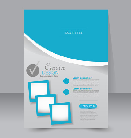 blank template: Flyer template. Business brochure. Editable A4 poster for design, education, presentation, website, magazine cover. Blue color.