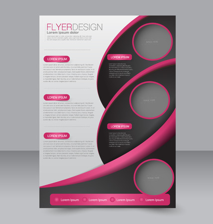 editable: Brochure template. Business flyer. Editable A4 poster for design, education, presentation, website, magazine cover.  Pink and black color.