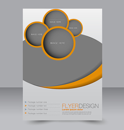 template: Flyer template. Business brochure. Editable A4 poster for design, education, presentation, website, magazine cover. Orange color.
