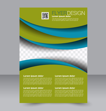 brochure: Brochure template. Business flyer. Editable A4 poster for design, education, presentation, website, magazine cover.  Blue and green color.