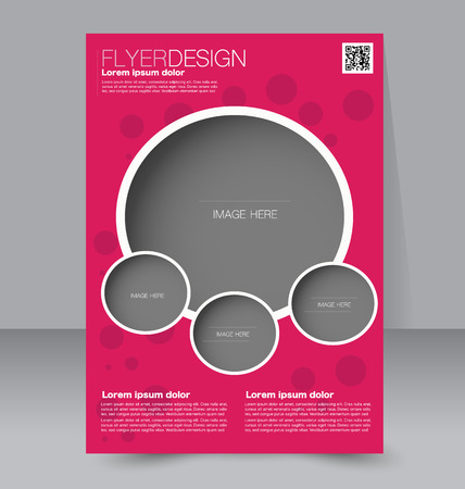 magazine: Flyer template. Business brochure. Editable A4 poster for design, education, presentation, website, magazine cover. Red color.