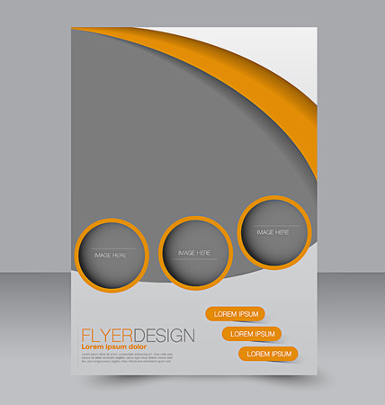 brochure design: Flyer template. Business brochure. Editable A4 poster for design, education, presentation, website, magazine cover. Orange color.