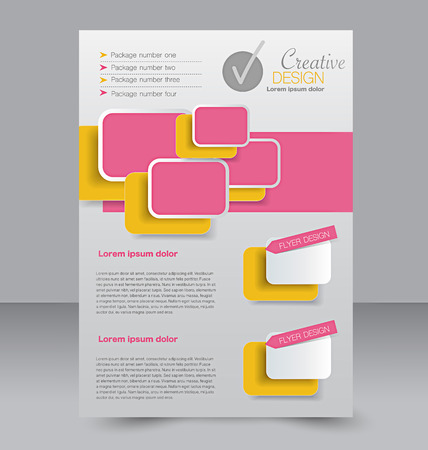 Flyer template. Business brochure. Editable A4 poster for design, education, presentation, website, magazine cover. Orange and pink color.