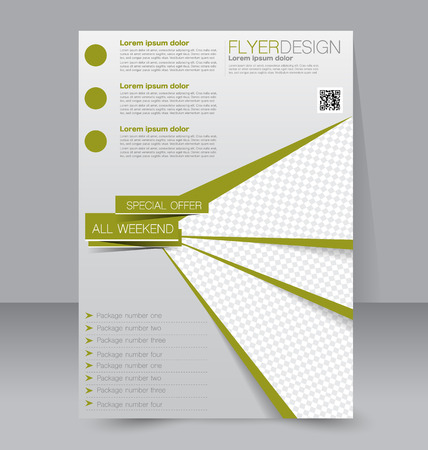 design ideas: Flyer template. Business brochure. Editable A4 poster for design, education, presentation, website, magazine cover. Green color.