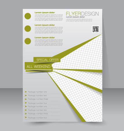 portadas de libros: Plantilla del aviador. Folleto del asunto. Editable cartel A4 para el diseño, la educación, la presentación, sitio web, portada de la revista. Color verde. Vectores