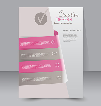 editable: Flyer template. Business brochure. Editable A4 poster for design, education, presentation, website, magazine cover. Pink and grey color.