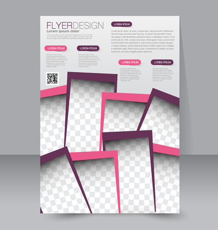 magazine page: Flyer template. Business brochure. Editable A4 poster for design, education, presentation, website, magazine cover. Pink and purple color. Illustration