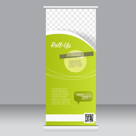 up: Roll up banner stand template. Abstract background for design,  business, education, advertisement.  Green color. Vector  illustration. Illustration