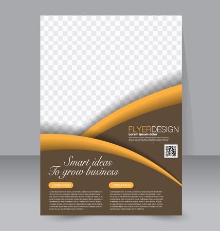 magazine: Flyer, brochure, magazine cover template design for education, presentation, website. Blue and orange color. Editable vector illustration.