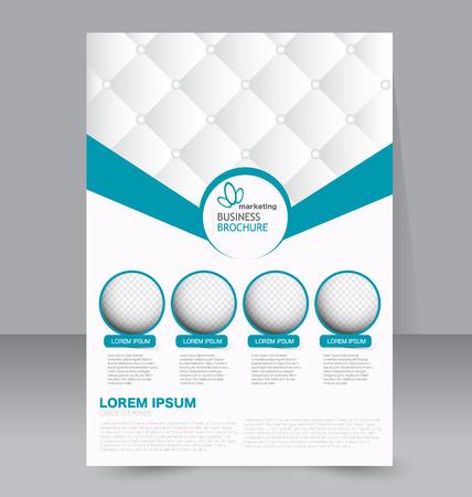 folleto: Plantilla del aviador. Folleto del asunto. Editable cartel A4 para el diseño, la educación, la presentación, sitio web, portada de la revista. Color azul.