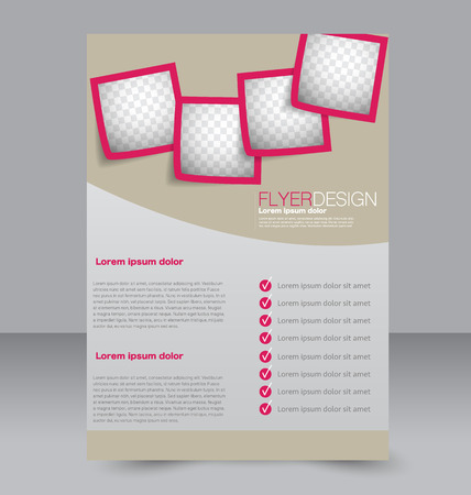 magazine design: Flyer template. Brochure design. Editable A4 poster for business, education, presentation, website, magazine cover. Pink color.