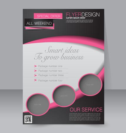 volantino modello. Brochure design. manifesto A4 modificabile per l'azienda, presentazione, sito web, copertina di una rivista. Colore nero e rosa.