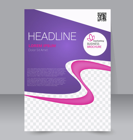 book background: Flyer template. Business brochure. Editable A4 poster for design, education, presentation, website, magazine cover. Pink and purple color. Illustration