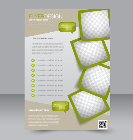 magazine page: Flyer template. Brochure design. Editable A4 poster for business, education, presentation, website, magazine cover. Green color.