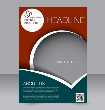 Flyer Vorlage. Broschüren Design. Editierbare A4 Plakat für Wirtschaft, Bildung, Präsentation, Website, Magazin-Cover. Grüne und rote Farbe.