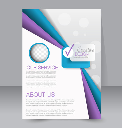 magazine page: Flyer, brochure, magazine cover template design for education, presentation, website. Blue and purple color. Editable vector illustration.