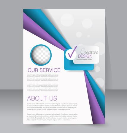 magazine: Flyer, brochure, magazine cover template design for education, presentation, website. Blue and purple color. Editable vector illustration.