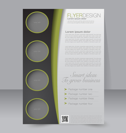 magazine: Flyer template. Brochure design. Editable A4 poster for business, education, presentation, website, magazine cover. Black and green color.