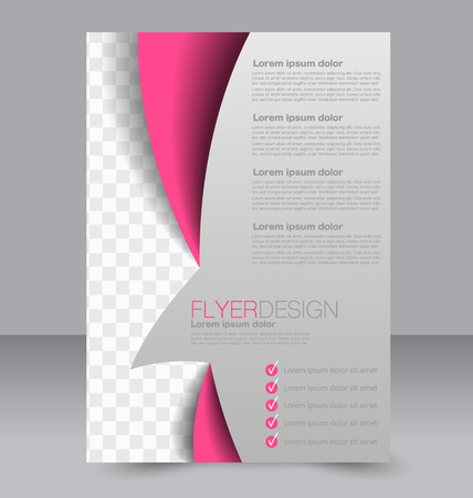 Flyer template. Brochure design. Editable A4 poster for business, education, presentation, website, magazine cover. Pink color.
