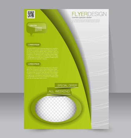 magazine design: Flyer template. Brochure design. Editable A4 poster for business, education, presentation, website, magazine cover. Green color.