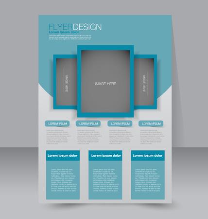 magazine design: Brochure template. Business flyer. Editable A4 poster for design, education, presentation, website, magazine cover. Blue color.