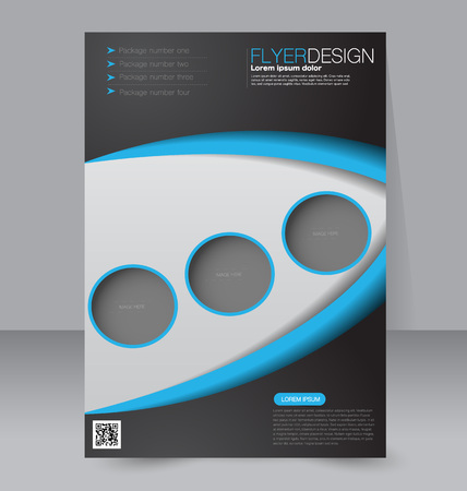 magazine: Flyer template. Brochure design. Editable A4 poster for business, education, presentation, website, magazine cover. Black and blue color.