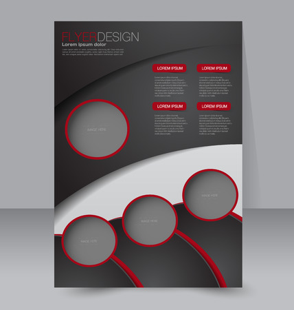 Brochure template. Business flyer. Editable A4 poster for design, education, presentation, website, magazine cover.  Red and black color. Ilustração