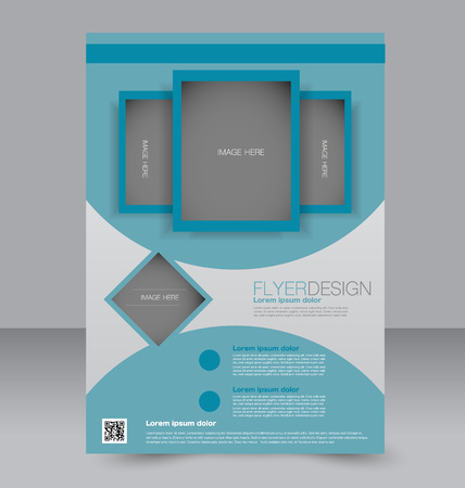 magazine design: Flyer template. Brochure design. Editable A4 poster for business, education, presentation, website, magazine cover. Blue color.