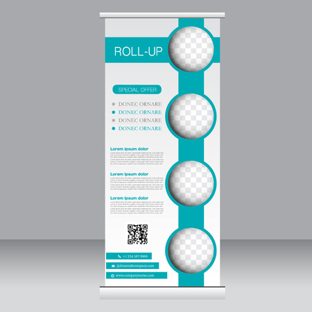 Roll up banner stand template. Abstract background for design,  business, education, advertisement.  Green color. Vector  illustration. Stock Illustratie