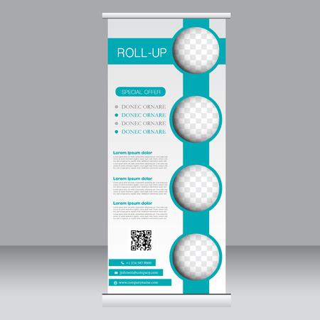 Roll up plantilla de soporte de la bandera. Resumen de antecedentes para el diseño, negocios, educación, publicidad. Color verde. Ilustración del vector.
