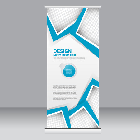 up: Roll up banner stand template. Abstract background for design,  business, education, advertisement.  Blue color. Vector  illustration.