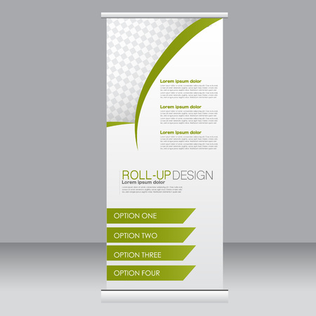 Roll up banner stand template. Abstract background for design,  business, education, advertisement.  Green color. Vector  illustration. Illustration
