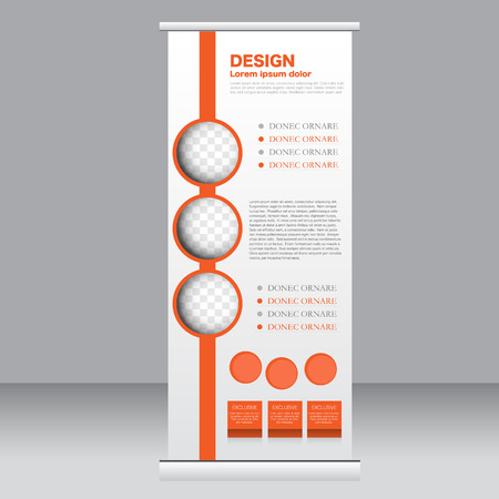 Roll up banner stand template. Abstract background for design,  business, education, advertisement.  Orange color. Vector  illustration.