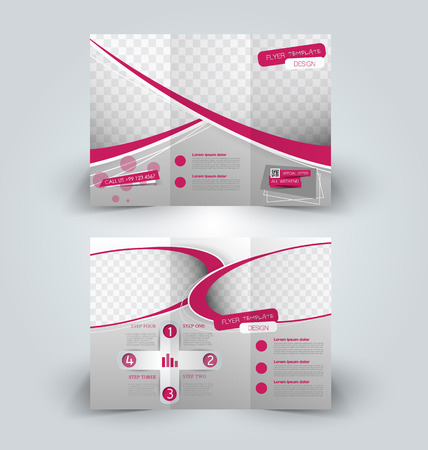 Brochure mock up design template for business, education, advertisement. Trifold booklet editable printable vector illustration. Pink color. Ilustração