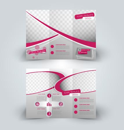 Brochure mock up design template for business, education, advertisement. Trifold booklet editable printable vector illustration. Pink color. Illustration