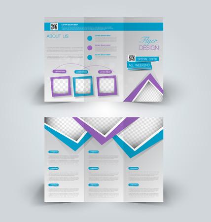 Brochure ontwerpsjabloon. Abstracte achtergrond. voor zaken, onderwijs, reclame. Driebladige boekje bewerkbare afdrukbare vectorillustratie. Blauwe en paarse kleur.