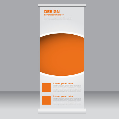 up: Roll up banner stand template. Abstract background for design,  business, education, advertisement.  Orange color. Vector  illustration.