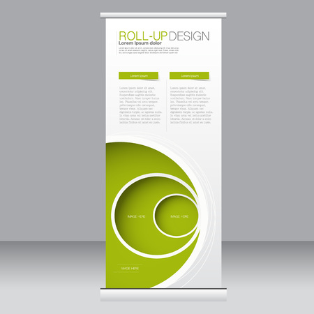 Roll up banner stand template. Abstract background for design,  business, education, advertisement.  Green color. Vector  illustration.  イラスト・ベクター素材