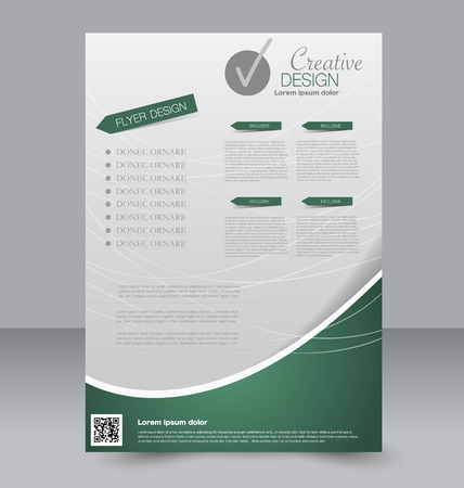 Brochure design. Flyer template. Editable A4 poster for business, education, presentation, website, magazine cover. Green color.