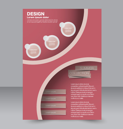 Brochure design. Flyer template. Editable A4 poster for business, education, presentation, website, magazine cover. Red color.